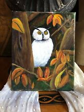 VINTAGE Owl/Animal/Bird Oil Painting Canvas Adorable
