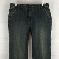 TALBOTS womens size 10 stretch blue dark wash mid rise straight thick trouser