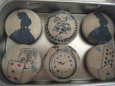Handmade Fabric Button Magnets In Alice On Wonderland Fabric