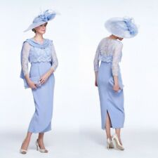 Sky Blue Mother Of the Bride 2 Pieces Dresses Outfit Lace Jacket Party Gown Size