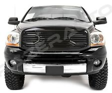 Front Gloss Black Big Horn Grille+Replacement Shell for 06-09 Dodge RAM 2500+350