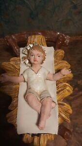 Presepe culla cartapesta con bambino proporzione 30 cm vestito bianco