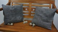 2 robuste Dekokissen Kissenhüllen grau Glas Sterne 40 x 40 cm Reißverschluß