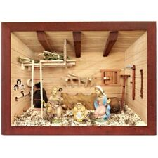 German 3D Wooden Shadow Box Picture Diorama Christmas Nativity Creche Scene