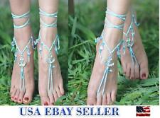 New Handmade Crochet Barefoot Sandals Jewelry Charm Ankle Bracelet Beach Sandals
