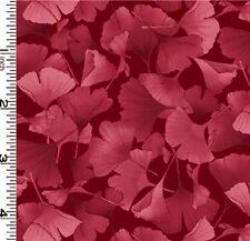 Fabric #2582, Petite Ginkgo Leaves, Rose on Burgundy, Kona Bay, Sold by 1/2 Yard