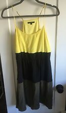 Colorblocked Silk Dress Madewell Tank Size 4 Yellow Black And Army