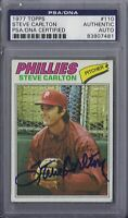 Steve Carlton Signed 1977 Topps - PSA DNA