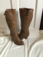 Ladies Size 7 Evans Tan Faux Leather Boots Brand New Never Worn