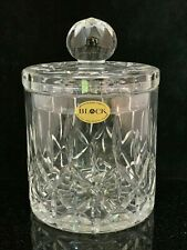 Block Olympic Biscuit Barrel Jar Mouth Blown Hand Cut Lead Crystal Poland