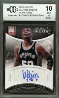 2012-13 elite all-time greats signatures #12 DAVID ROBINSON spurs BGS BCCG 10