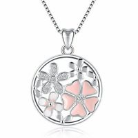 LOVE Pink Flower Silver Charms Pendant Fit 925 Sterling Necklace Women's Jewelry