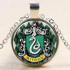 Slytherin Wappen 2 Glas Cabochon Anhänger Schlange+Kette 45cm Harry Potter 1Stk!