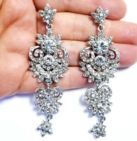 Chandelier Earrings Rhinestone Austrian Crystal 3.2 in Clear