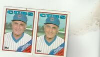 FREE SHIPPING-MINT-1988 Topps Chicago Cubs  #564 Frank Lucchesi MANAGER-2 CARDS
