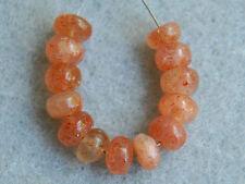 Natural Orange Sunstone Smooth Plain Rondelle Gemstone Beads 5mm.