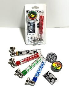 Smoking Rolling Set Grinder,Glass TABACCO PIPES + 5 Five Screens WEED PRINT UK🚚