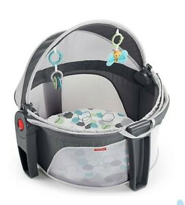 Fisher-Price On-the-Go Baby Dome Infant Play Crib Portable Baby Carrier in Gray