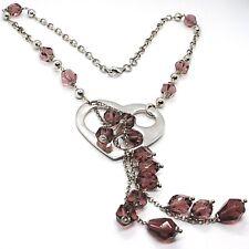 Halskette Silber 925, Herz Perforiert Anhänger, Cluster Nuggets Violet