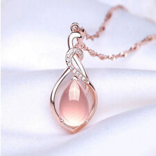 Fashion Women Opal Crystal Cat's Eye With Chain Pendant Necklace Jewelry Gift
