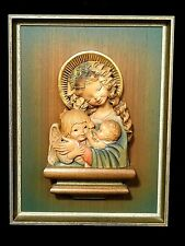 Anri Wood carved Statue Virgin relief Madonna Icon Plaque Mother & Child