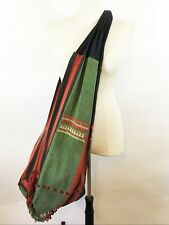 Hand Loomed Boho Sling Tote Bag Red Black Green Fringe Heavy Cotton Weave XL