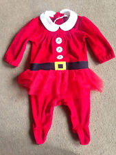 BNWT NEXT Girls Red Miss Santa Tutu Velour Christmas Outfit Up to 3 Months 0-3