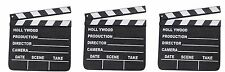 3 HOLLYWOOD CLAPBOARD CLAPPER CLAP BOARDS MOVIE SIGN DIRECTOR'S PROP CHALKBOARD