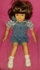 """MY TWINN GIRL AMERICAN brunette 1996 DOLL CLOTHes shoes & 23"""" OVERALLS"""
