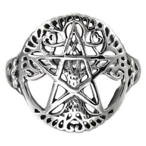 Sterling  Silver  (925)   Pentagram  In Tree  Of  Life  Ring   !!       New  !!