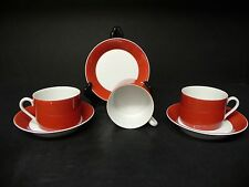 FITZ & FLOYD RONDELET - TERRA COTTA  set of 3 CUPS WITH SAUCERS  ..
