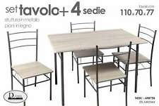 TAVOLO CON 4 SEDIE IN METALLO CON PIANI IN LEGNO 110*70*77 MDU-698750