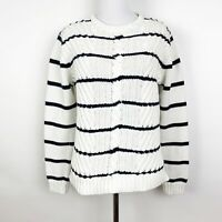 Brooks Brothers Navy Blue White Cable Knit Striped Sweater Crew Neck Size L