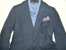 TURNBULL & ASSER CUSTOM Men's Navy Two Button Linen Blend Suit 38-40R 35Wx29