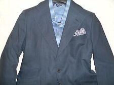 TURNBULL & ASSER CUSTOM Men's Navy Two Button Linen Blend Suit 38-40R 35Wx29
