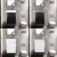 "19"" Wall Mount Small Bathroom Vanity Ceramic Glass Sink Faucet Drain Set 4 Type"