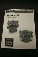 Ridgid Model 141 / 161 Receding Geared Threaders Operator's Manual Pipe Plumbing