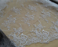 "Vintage Wedding Dress Fabric 53"" Ivory Embroidery Tulle Bridal Lace Fabric 1 Y"
