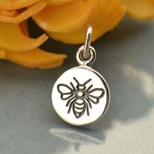 Sterling Silver Tiny Bee Etched Charm Pendant Honeybee Worker Bee Insect 1670