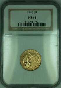 1912 Indian Half Eagle $5 Gold Coin NGC MS-61 (KD)