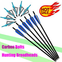 Carbon Arrows Crossbow Bolts + Broadheads Archery Outdoor Target Hunting 16-22in