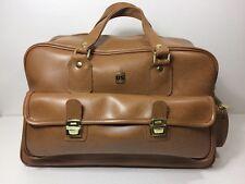 US Luggage Co. Vintage Cognac Tan Large Faux Leather Duffle Traveling weekender