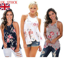 Summer Womens Floral Flower Tank Tops Casual Sleeveless Vest Beach T Shirt 8-16