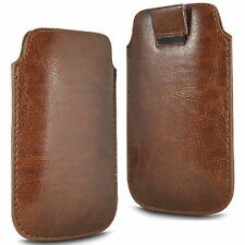 For - Sharp Aquos SH8298U - Brown PU Leather Pull Tab Case Cover Pouch