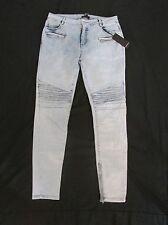 New Forever 21 Ribbed Moto Skinny Jeans Light Blue Denim Zipper Ankle - Size 29