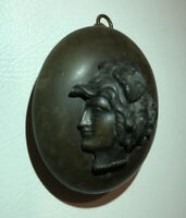 A LARGE VICTORIAN CARVED EBONY/VULCANITE CAMEO MOURNING LOCKET PENDANT ANTIQUE