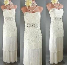 Badgley Mischka Silk14 IVORY Lace Fringe Strapless Wedding Dress Gown VTG Style