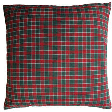 "Red Green Cushion Cover Checks Woven Fabric 16"" Square Christmas Colours"