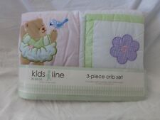 3 pc  Kidsline Bears Baby Nursery Crib Quilt Bedding Set NIP