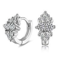 Fashion Women 925 Silver Plated Crystal Flower Ear Hoop Earrings Wedding Jewelry